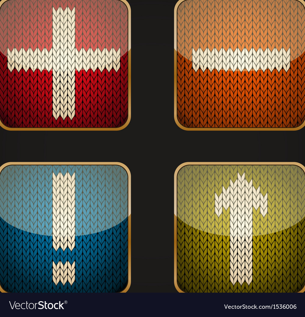 Glossy square icon set with knitted pictograms