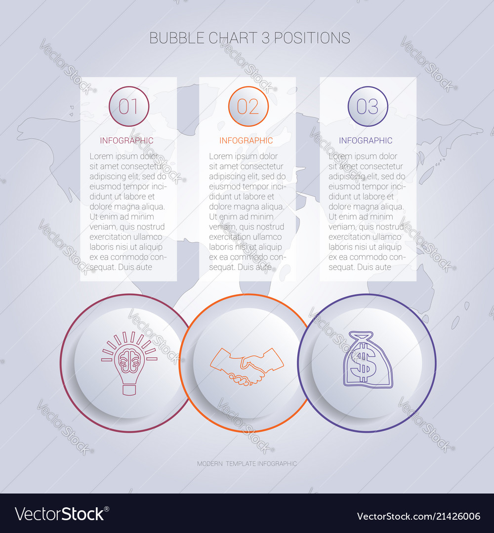 Infographics Color Bubble Chart Template For 3 Vector Image