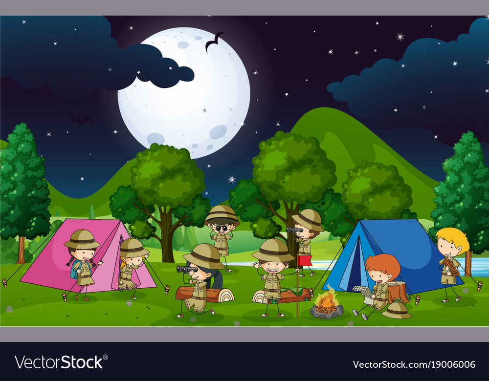 Many Kids Camping Out In The Woods At Night Vector Image