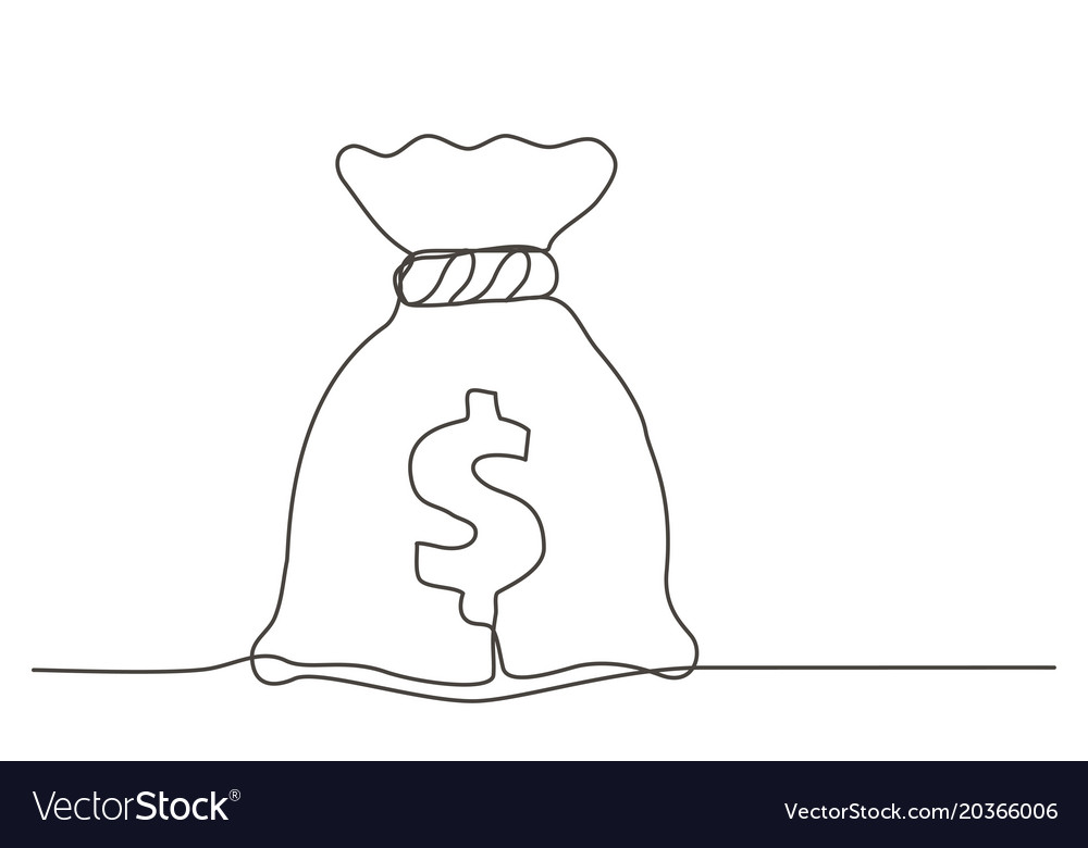 Money Bag One Line Drawing Royalty Free Vector Image