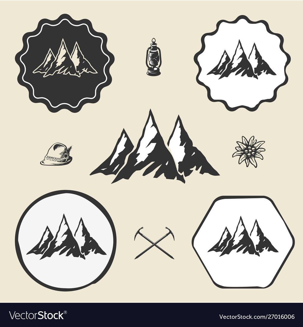 Mountain alpinism vintage icon flat web sign