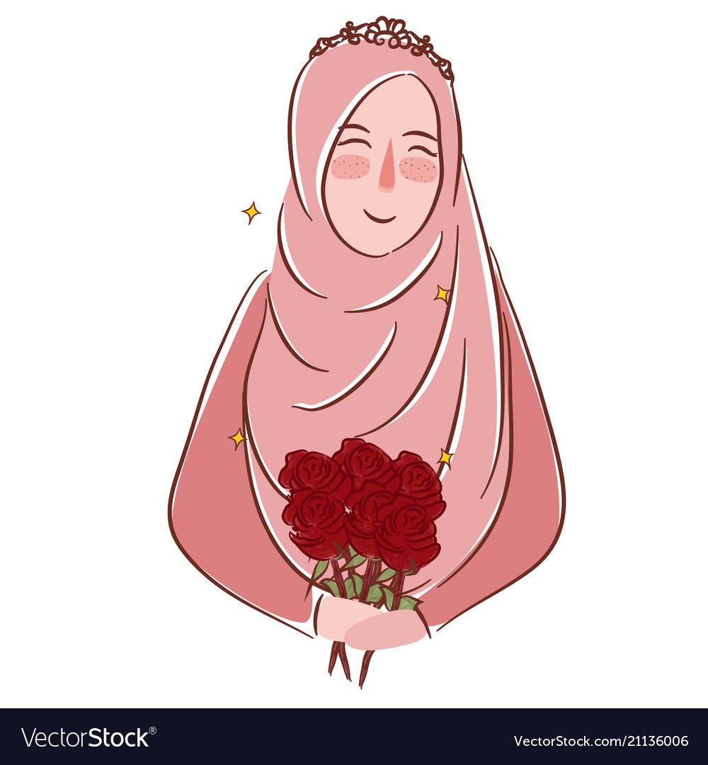 Muslim girl with roses wearing veil islamic