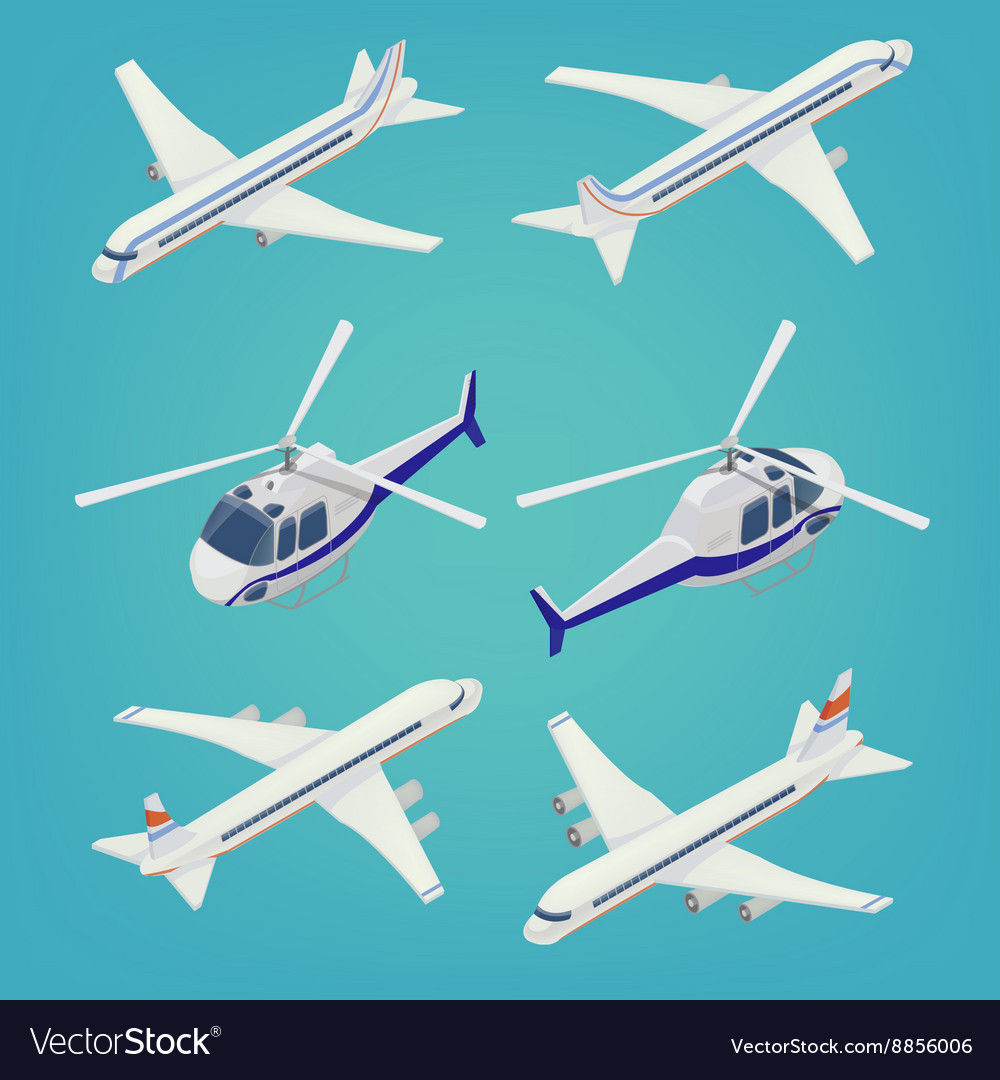 Passenger Airplane Passenger Helicopter Isometric