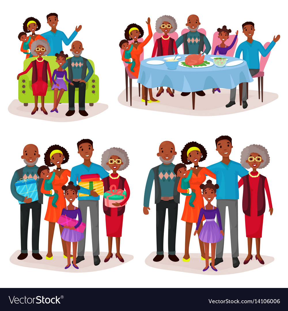 Set of afro-american family at holidays or festive