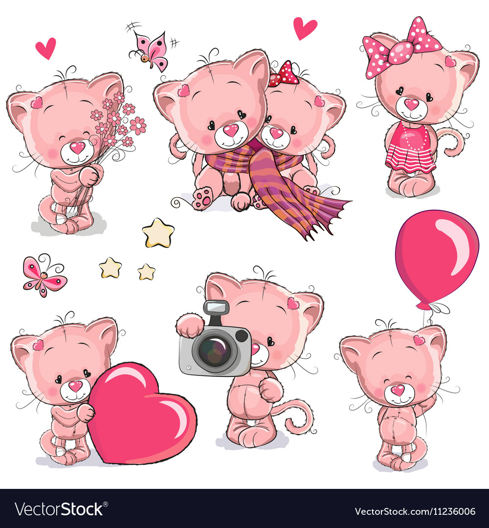 Image of: Cartoon Cat Set Of Cute Cartoon Kitten Vector Image Vectorstock Set Of Cute Cartoon Kitten Royalty Free Vector Image