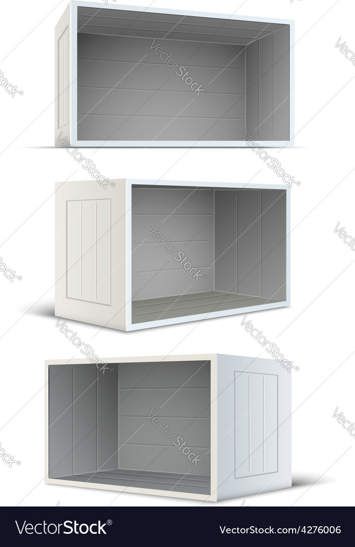 Set of white empty wooden vector image