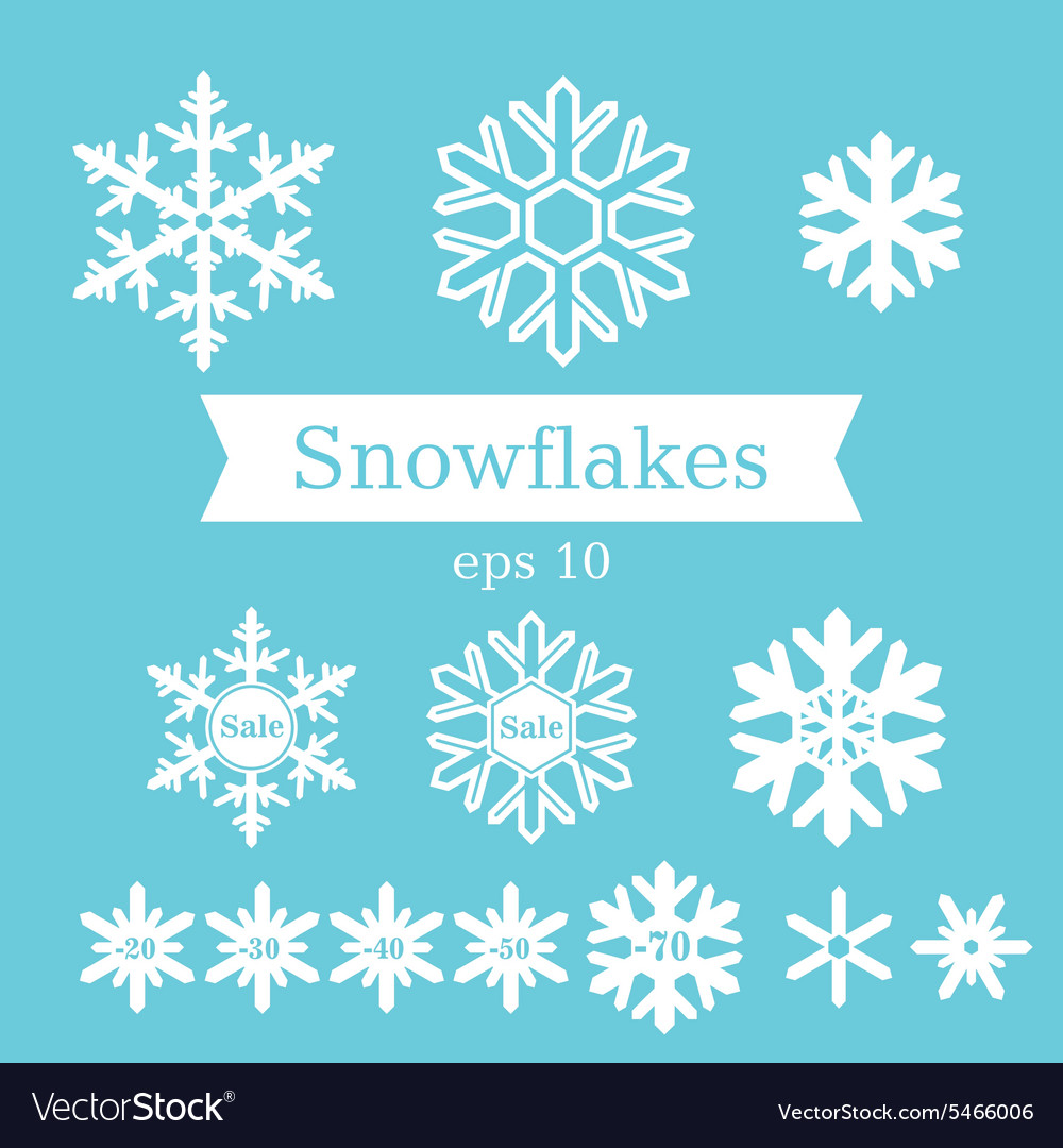 Set of white flat snowflakes on a blue background