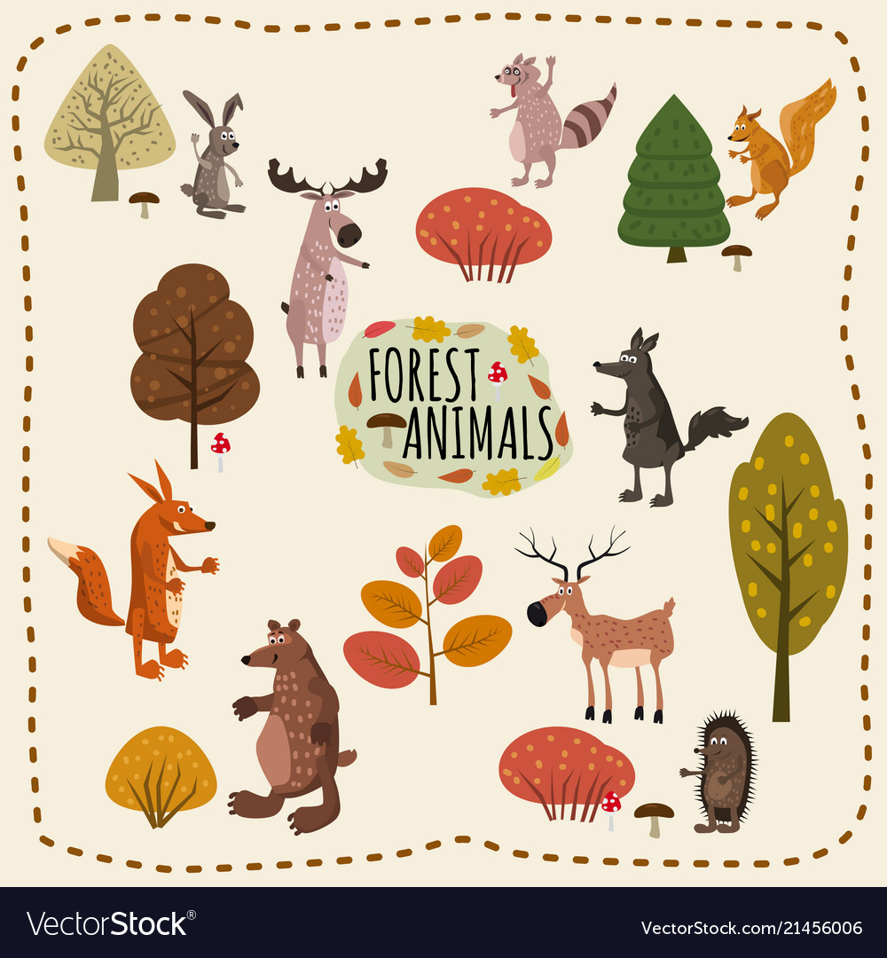 Set woodland animals and cute forest design