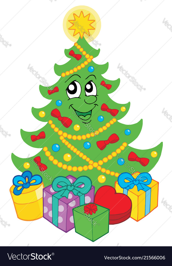 Smiling Christmas Tree With Gifts Vector Image