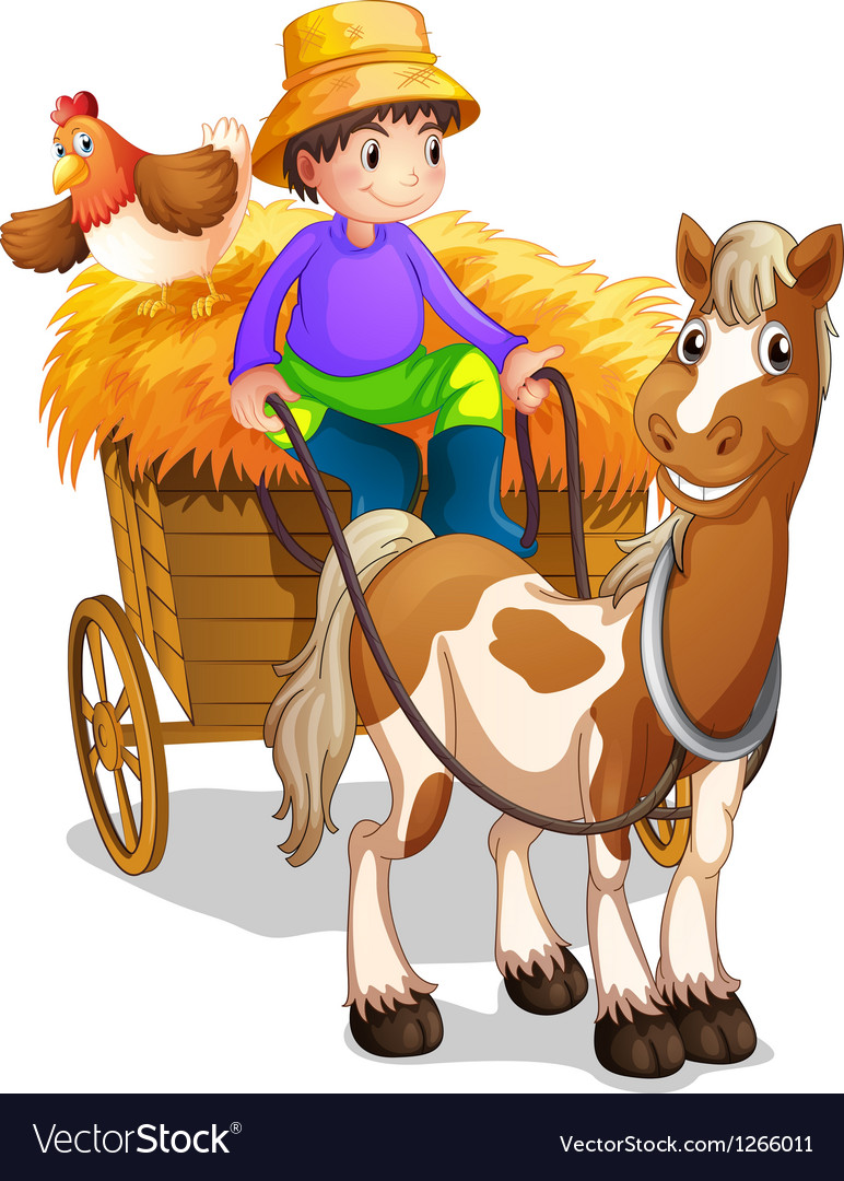 A farmer riding in his wooden cart with a horse