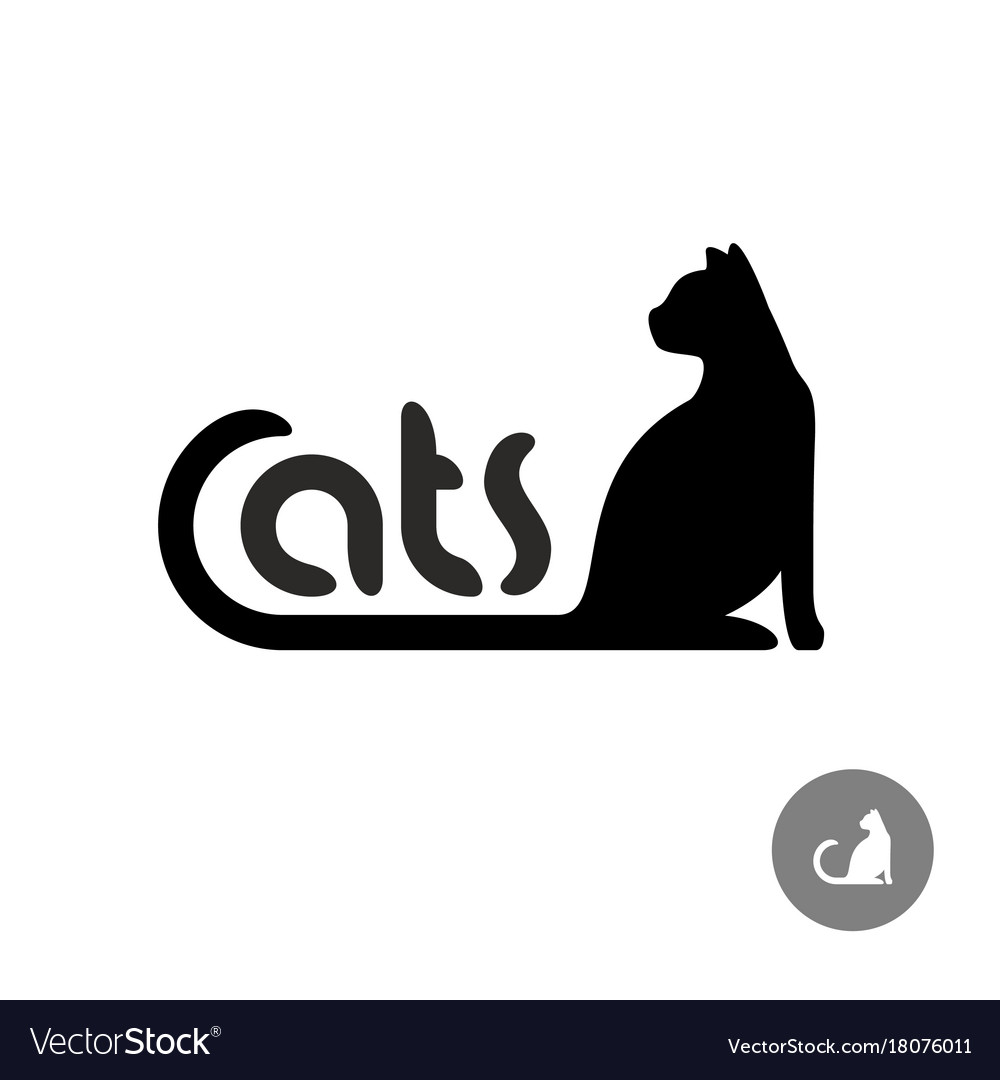 Black cat silhouette with text logo vector image