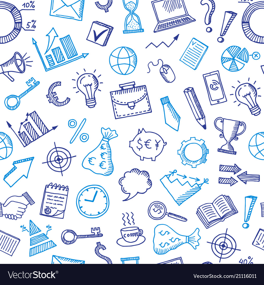 Business doodle icons background or pattern