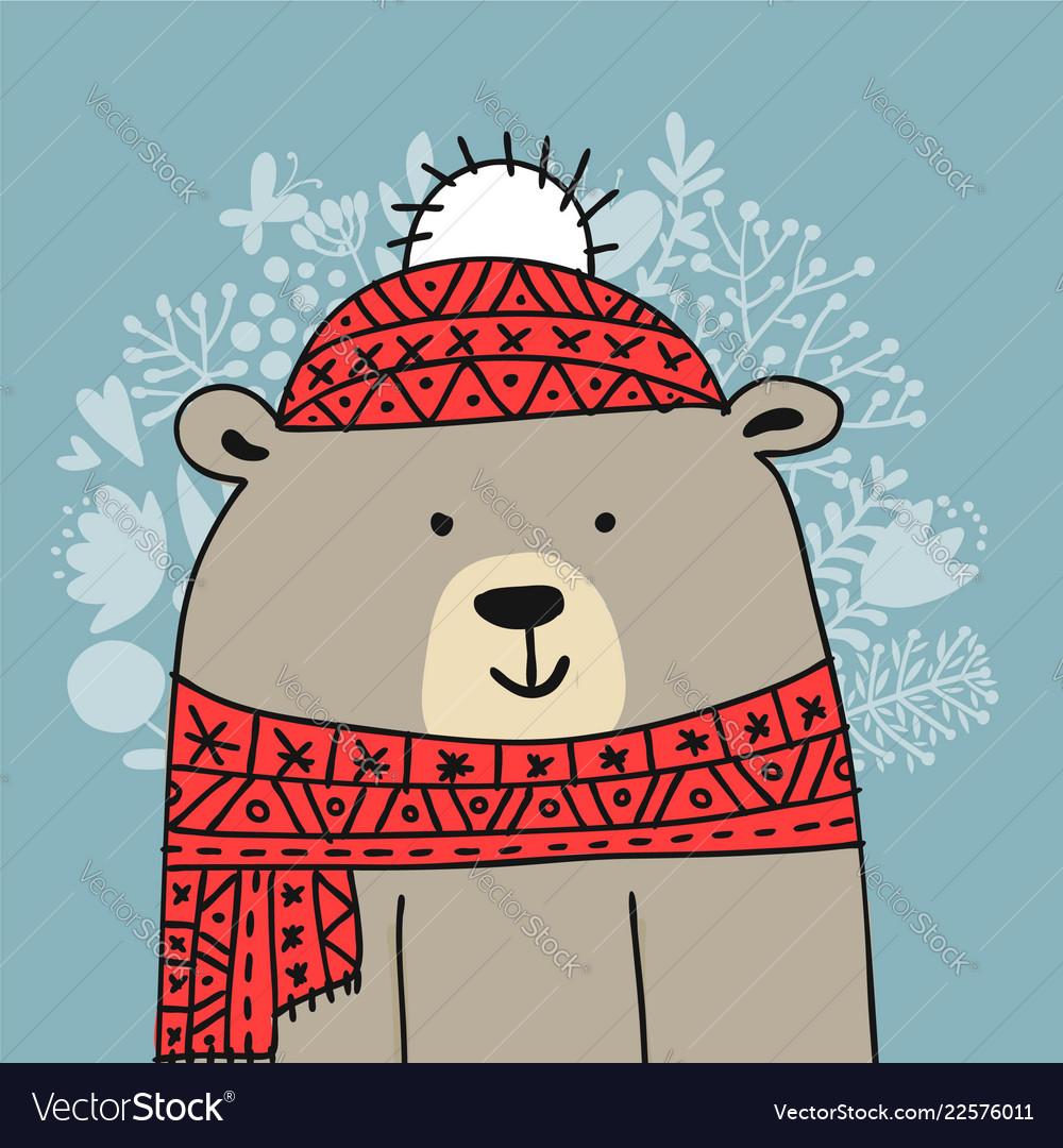 Christmas card with white santa bear