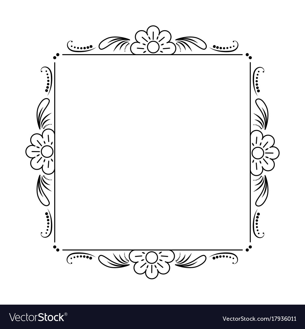 Classic black frame with flowers