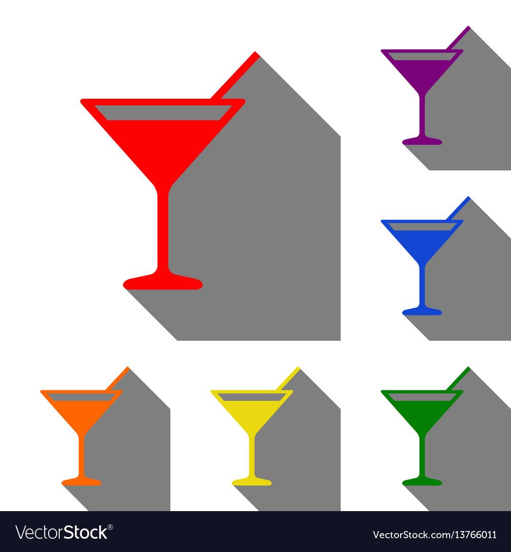 Cocktail sign set of red orange