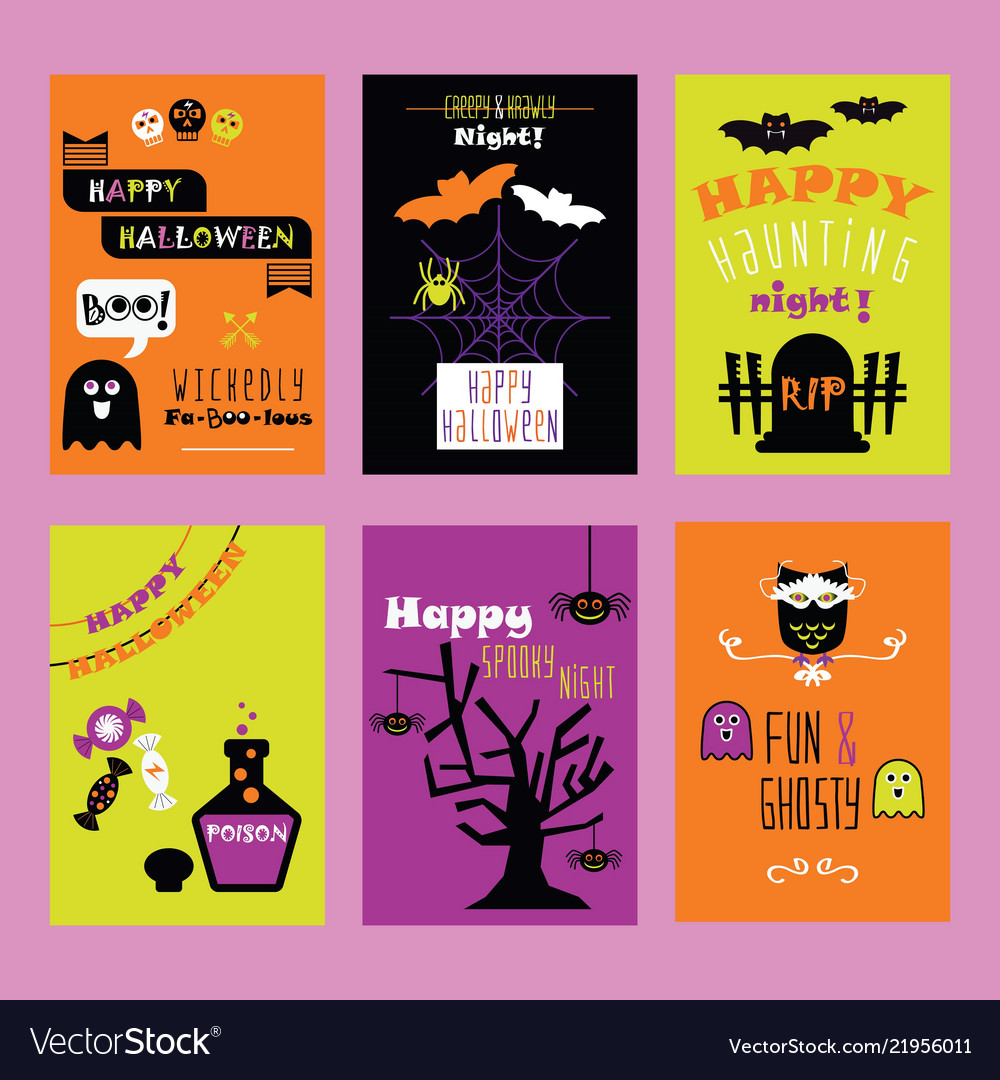 Colorful happy halloween kids invitation cards