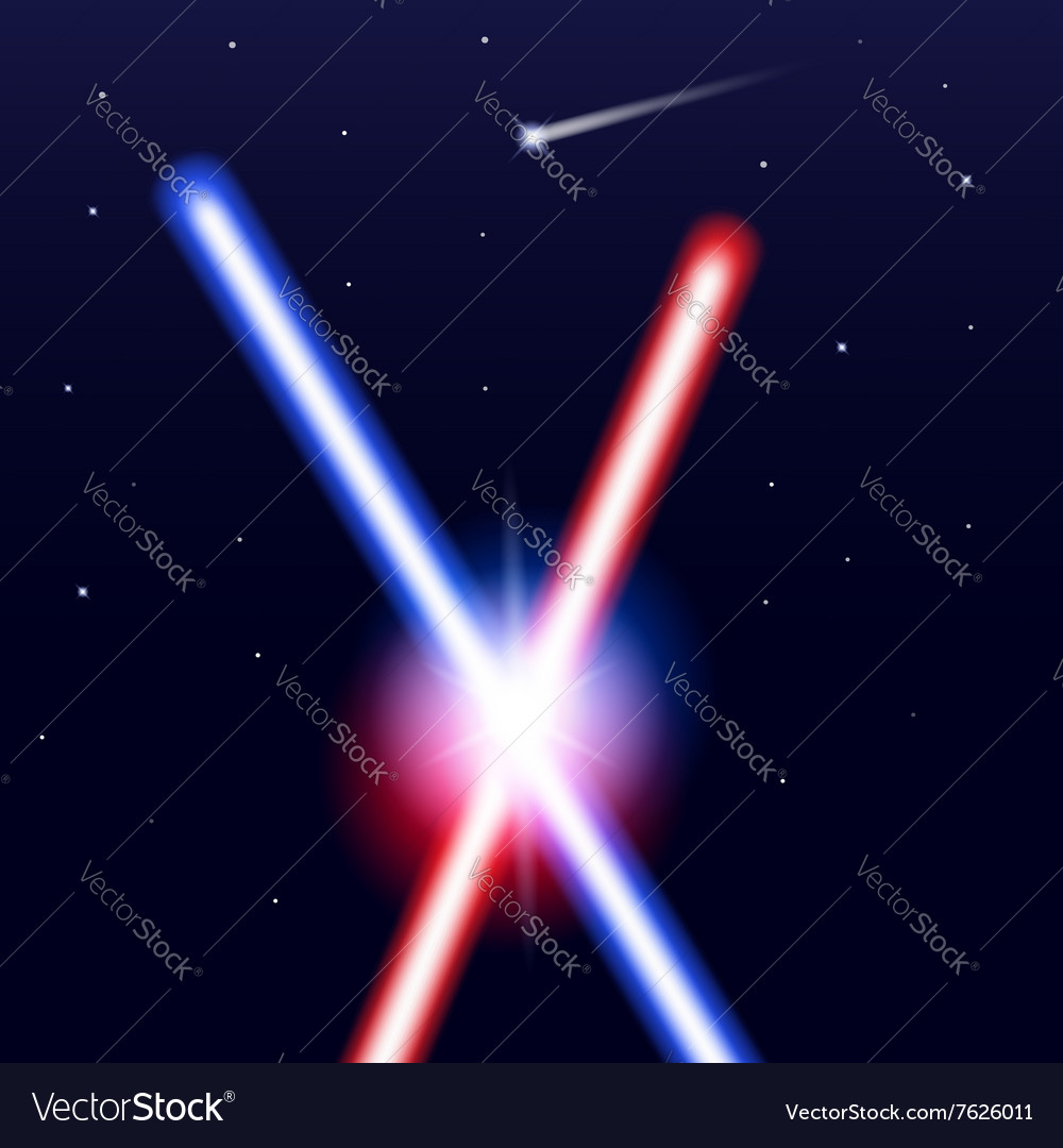 Crossed light swords on isolated black background vector image