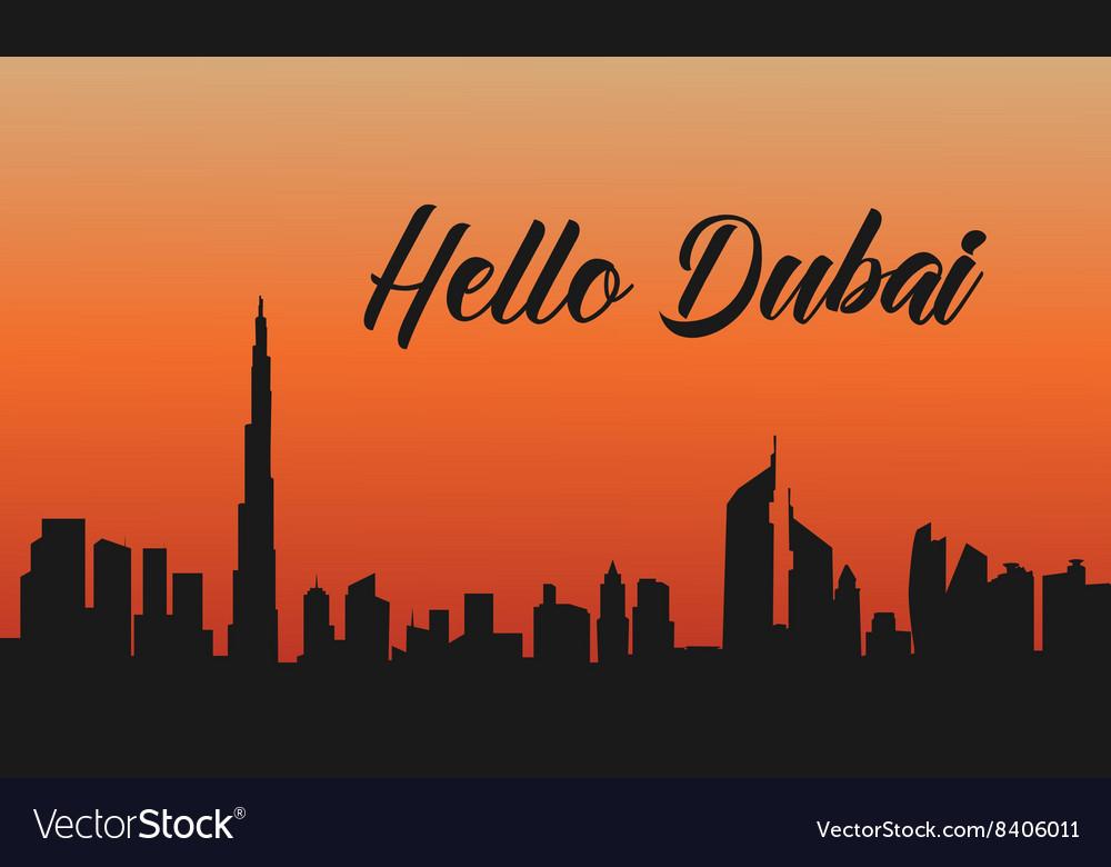 Dubai city at sunset of silhouette