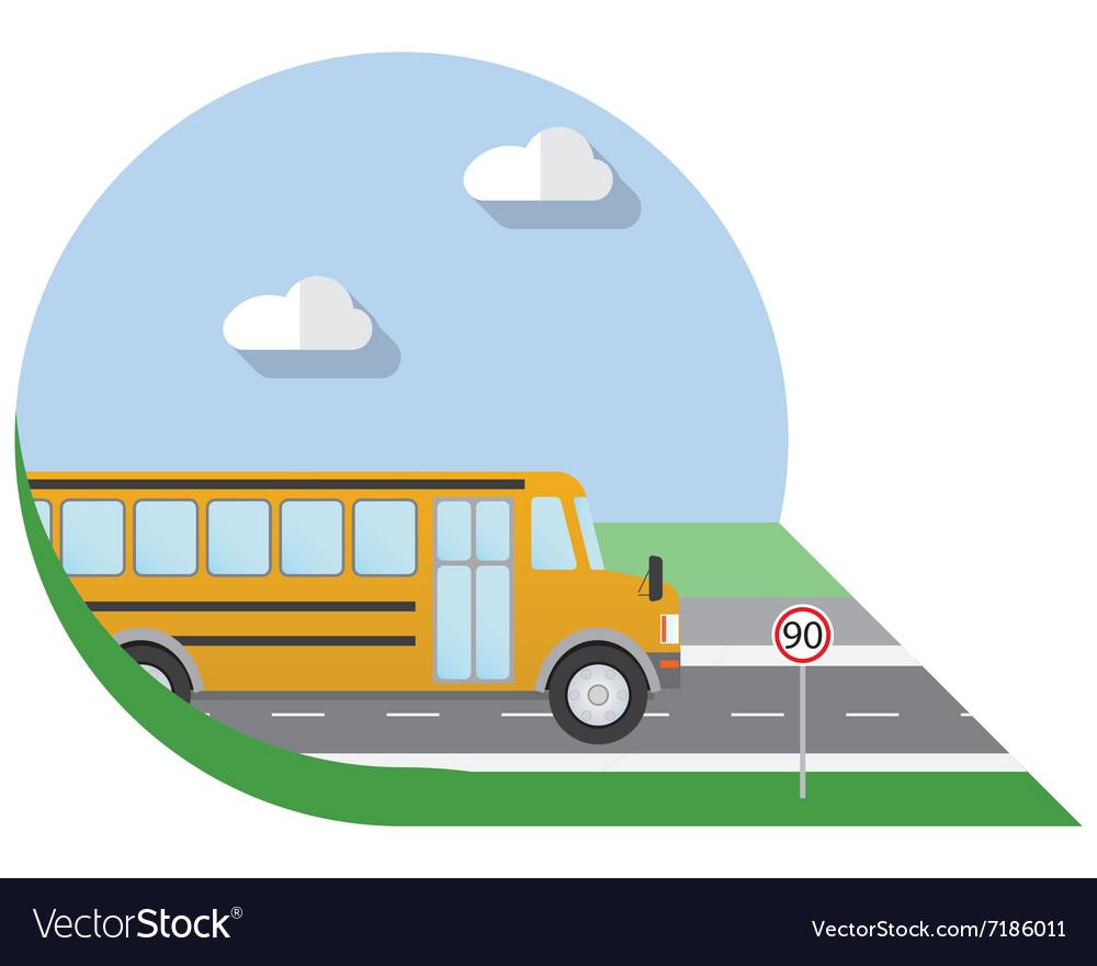 Flat design city Transportation school bus side