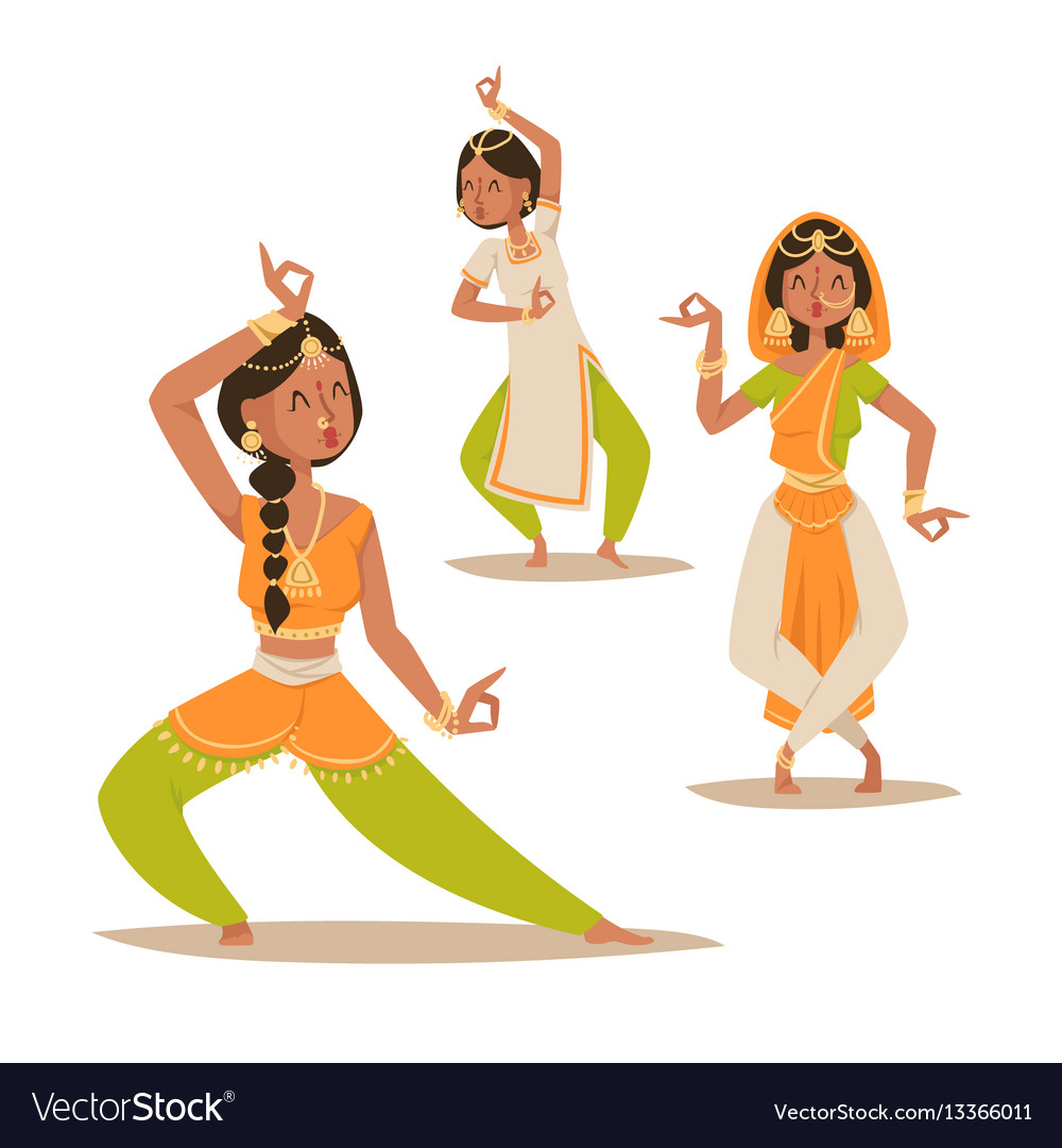Indian woman dancing isolated dancers vector image