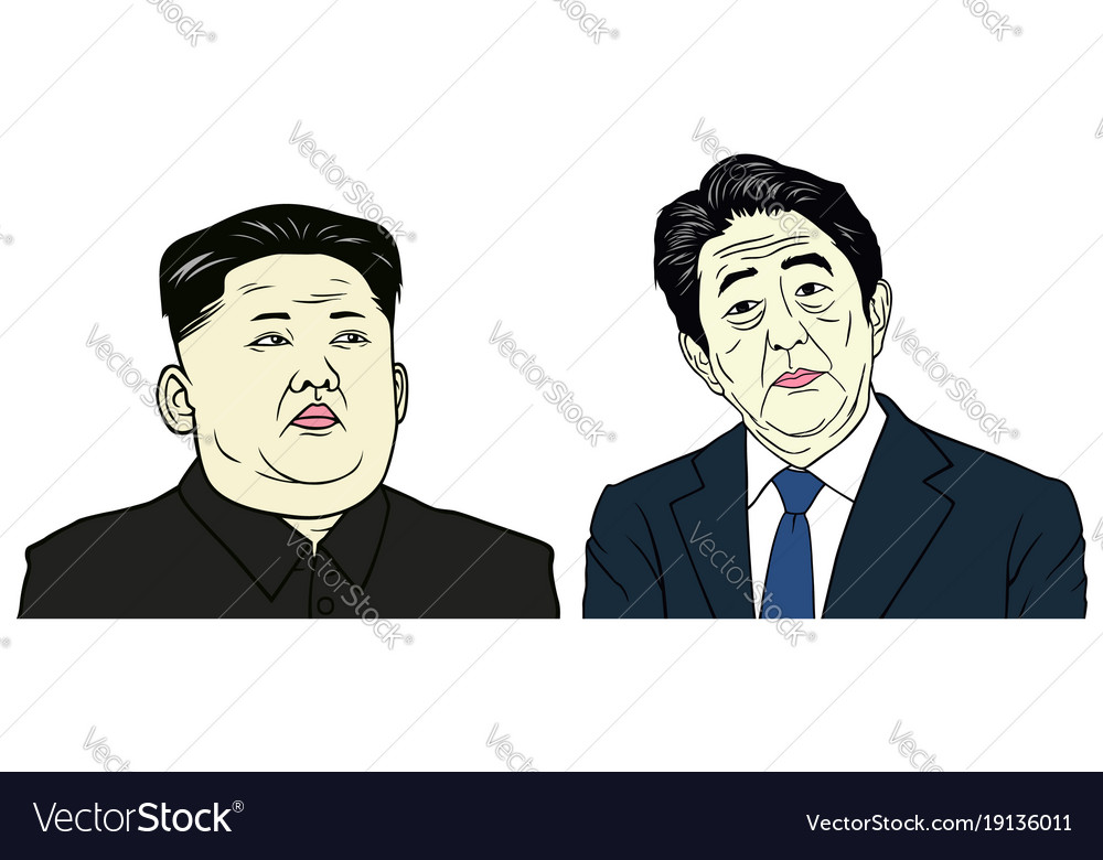Kim jong-un and shinzo abe portrait flat design vector image