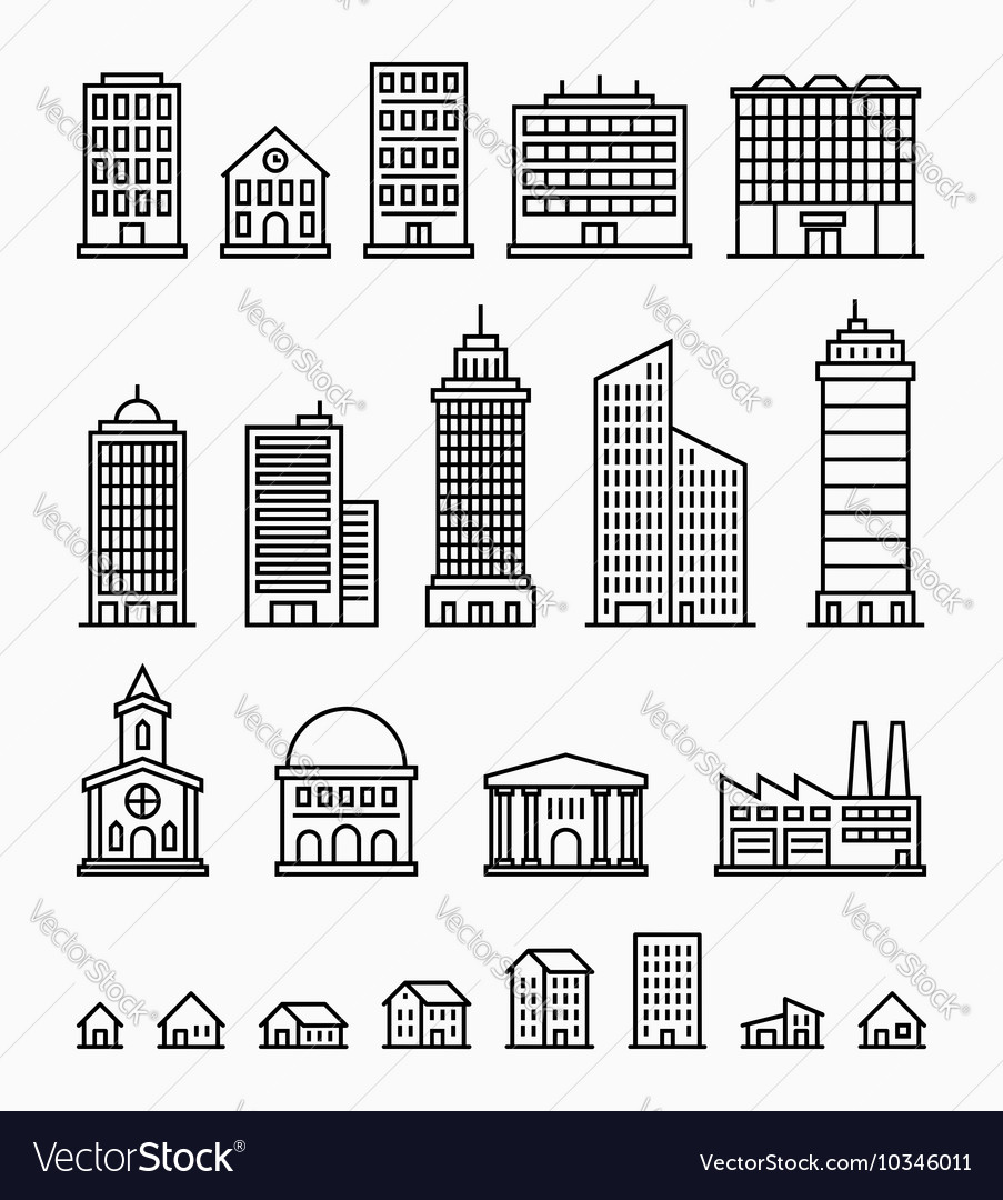 Line building icons set of outline buildings