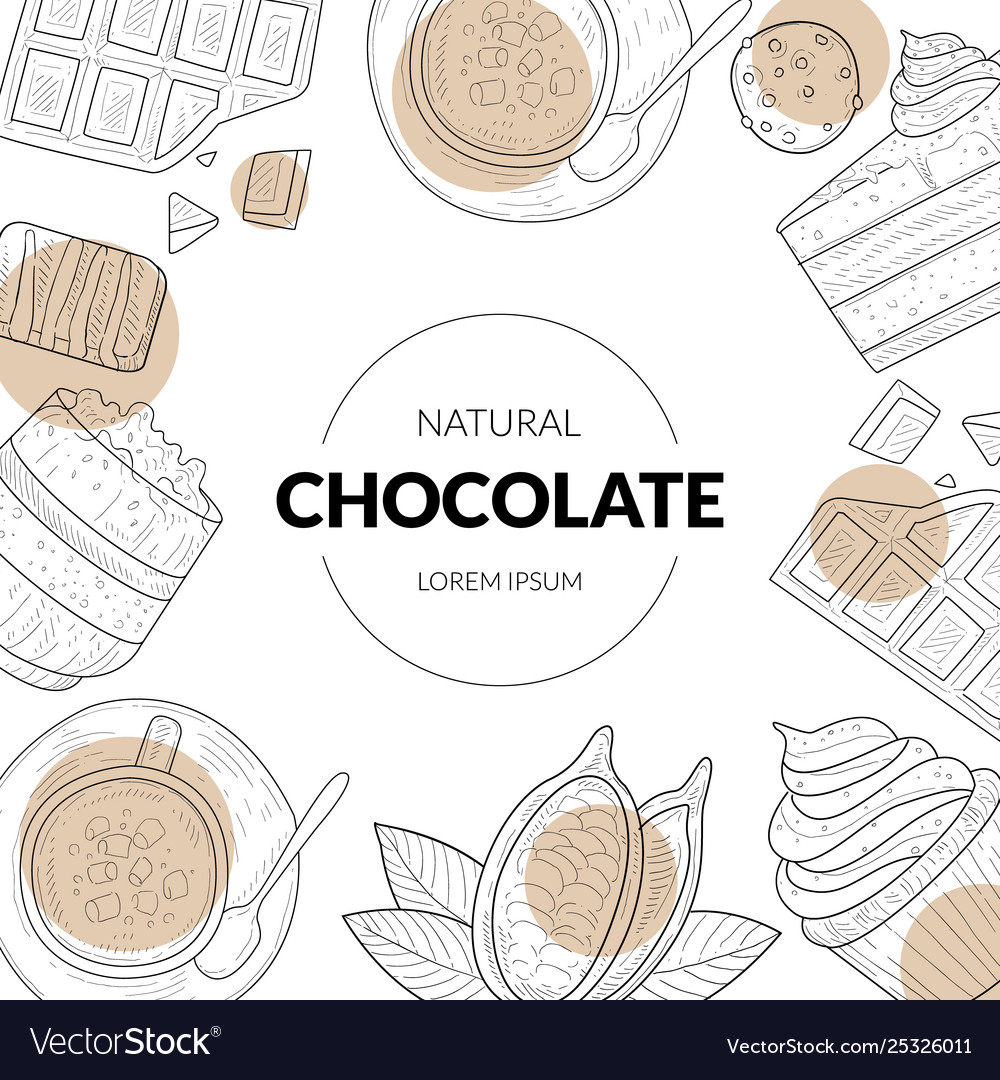 Natural chocolate banner template with chocolate