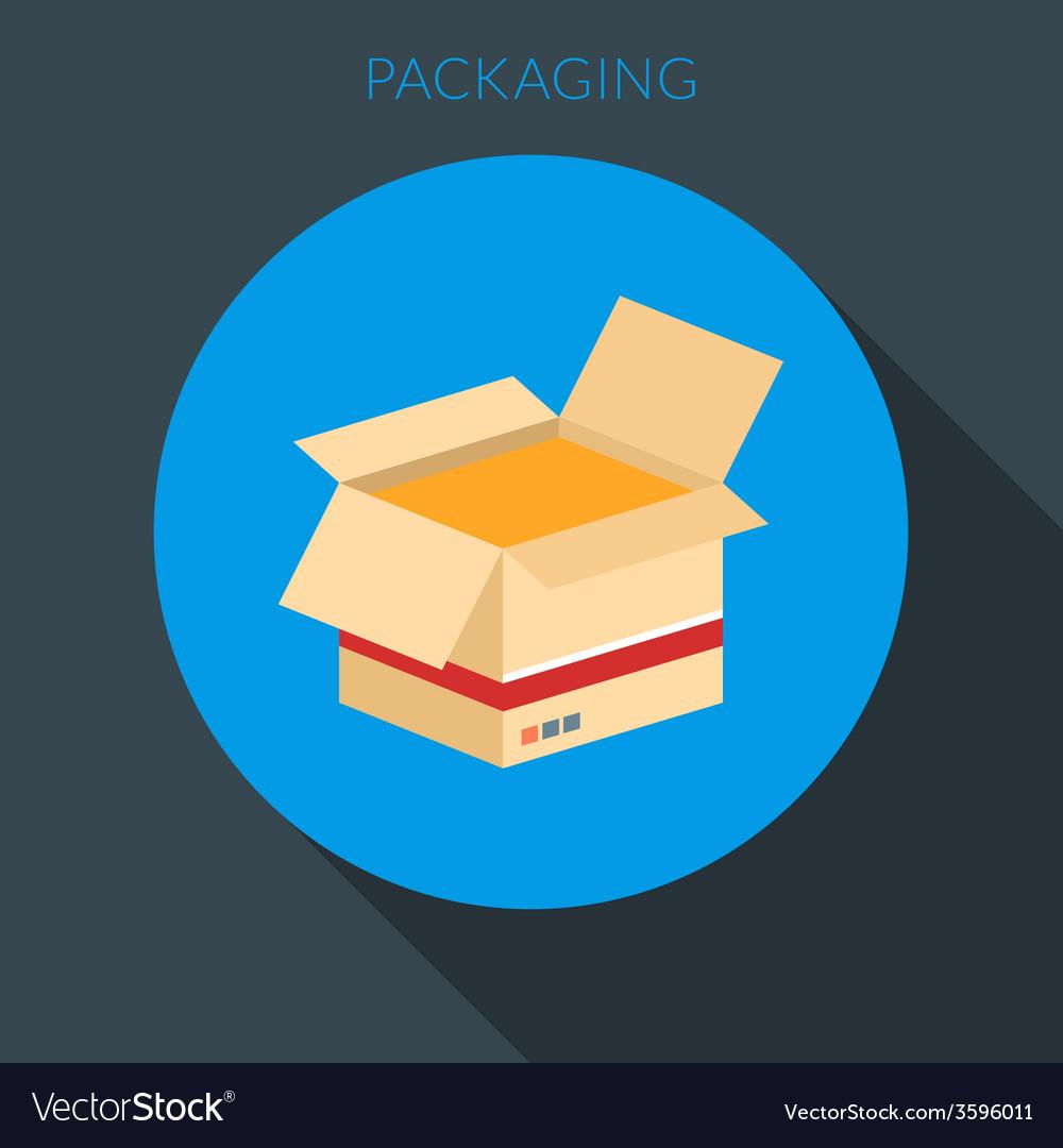 Packaging concept Open cardboard box in fla