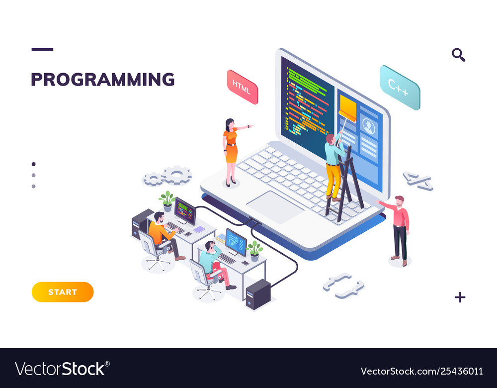 Programming office with developers and notebook