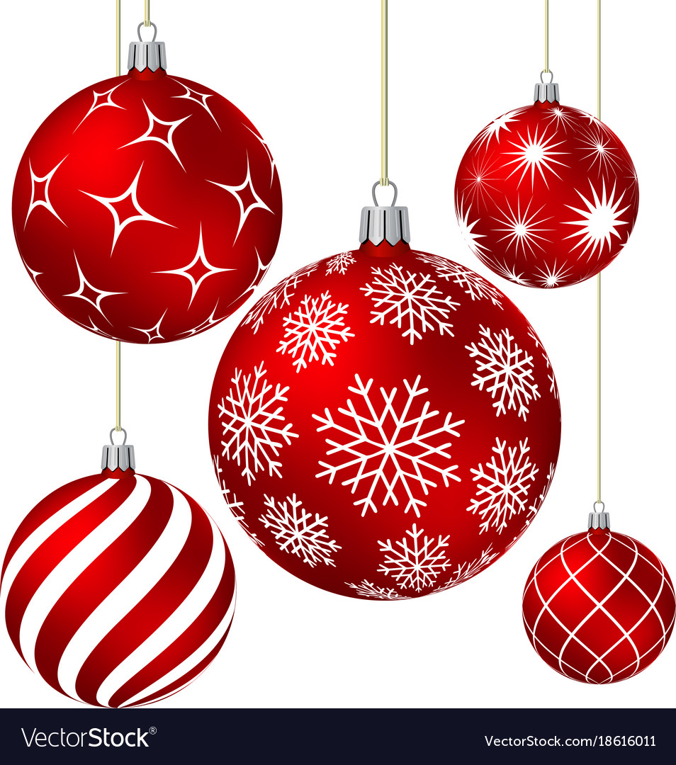 Red Christmas Balls With Different Patterns Vector Image On VectorStock