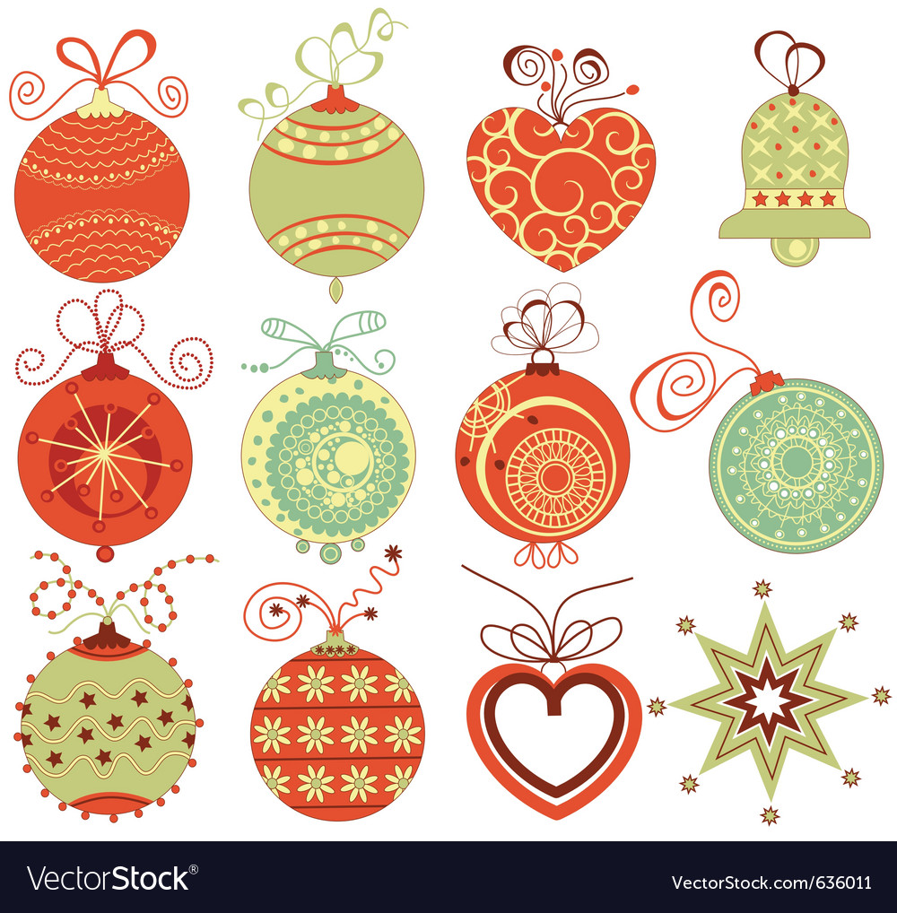 Christmas Ornaments on Retro Christmas Ornaments Vector 636011 By Danussa