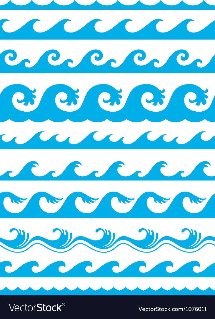 Ocean Wave Icon Seamless ocean wave set vector