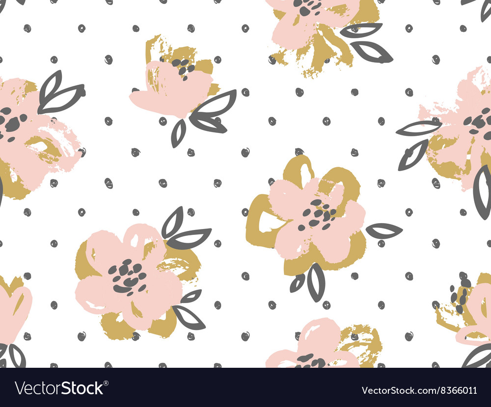 Seamless pattern with pink and gold flowers on the