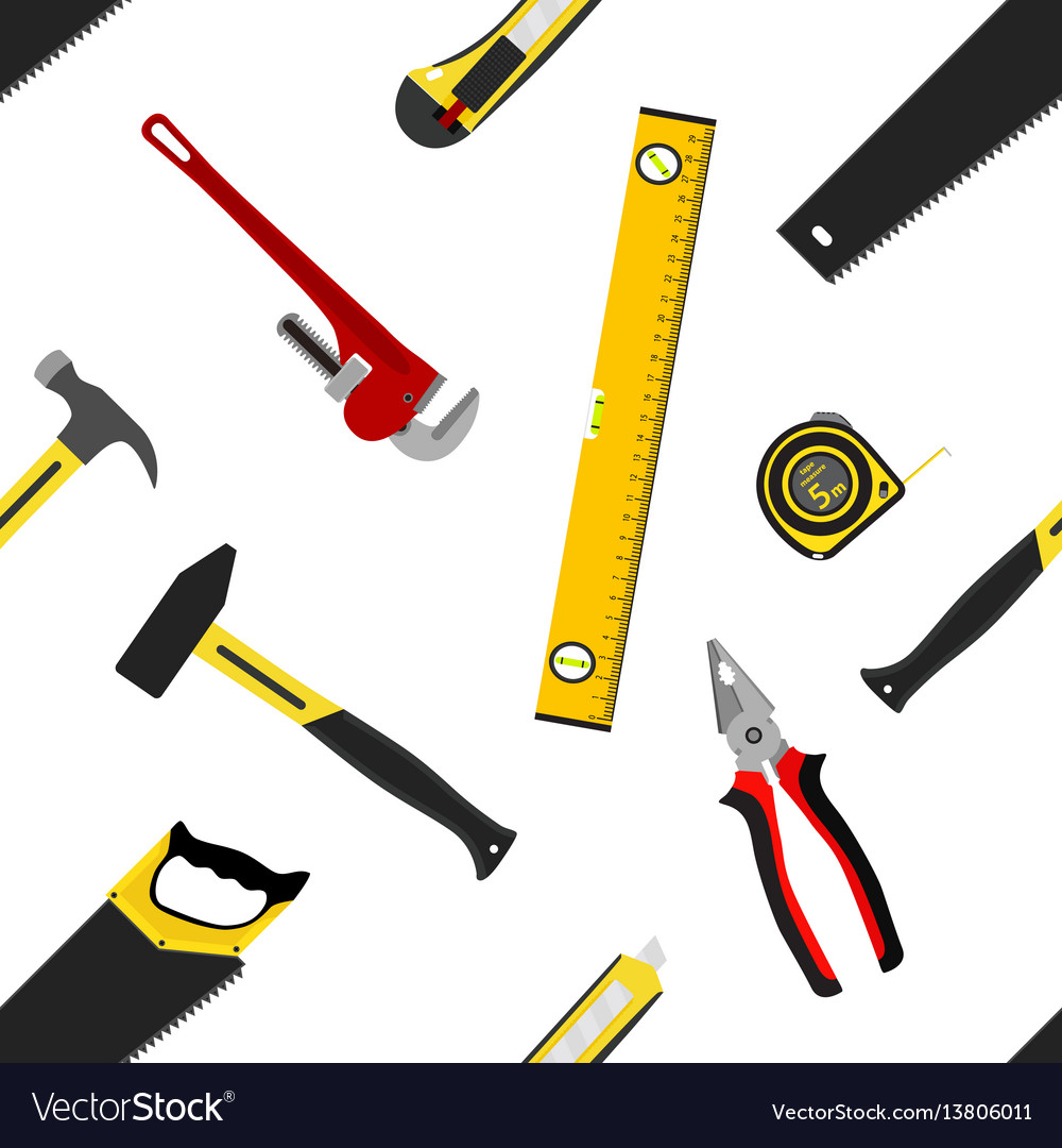 Seamless pattern with repair working tools in flat