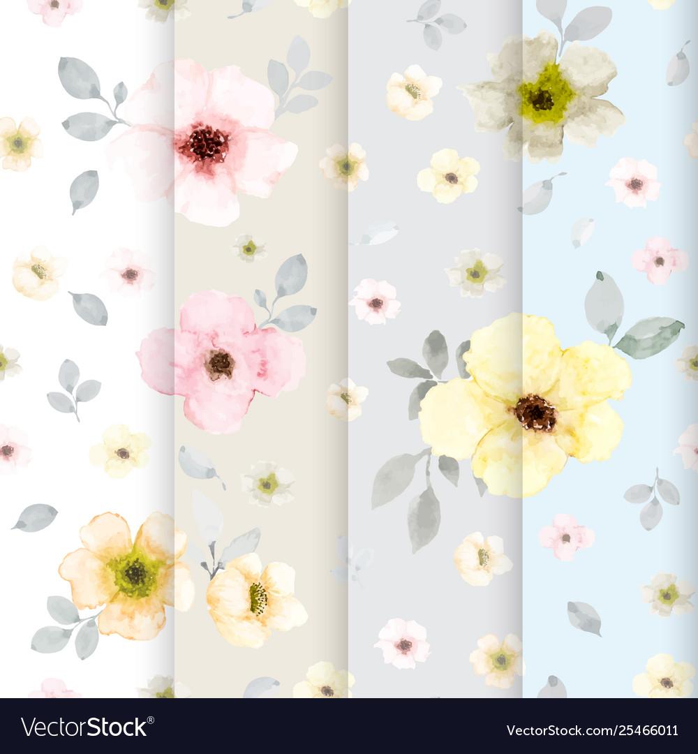 Set 4 cute flower watercolor seamless pattern