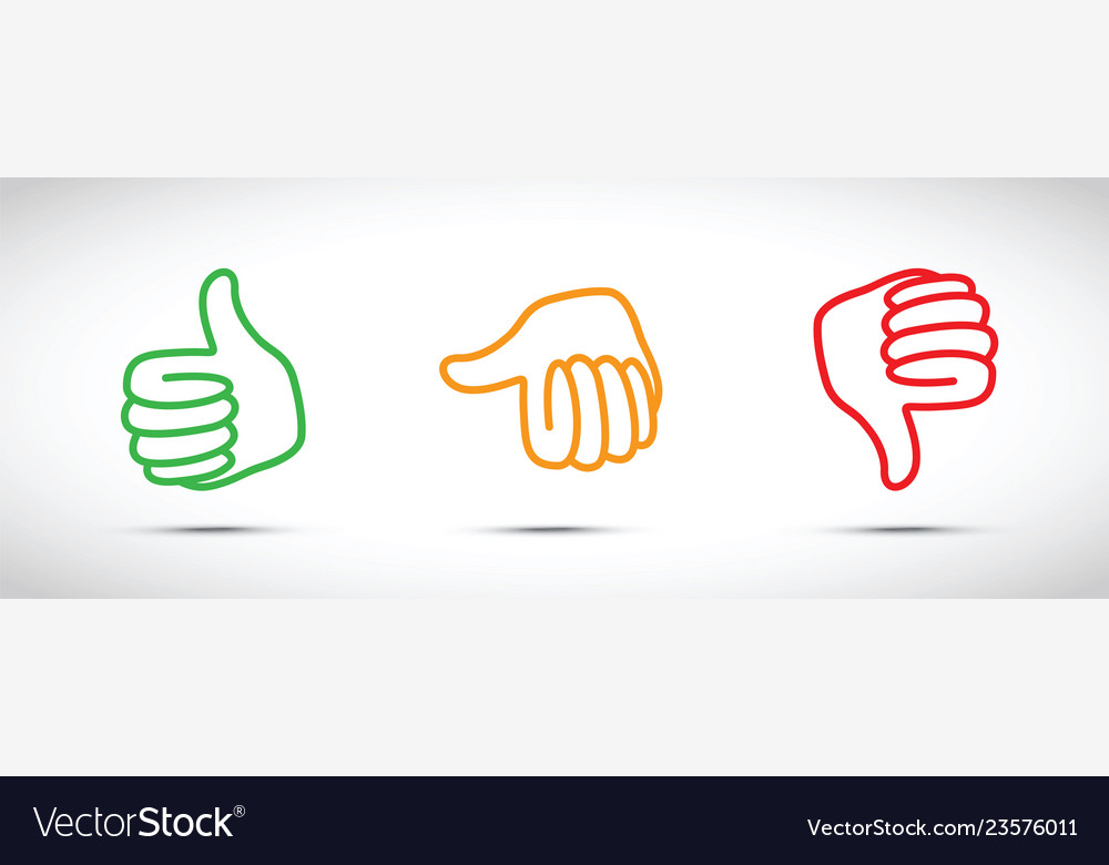 Set of three thumbs up down set