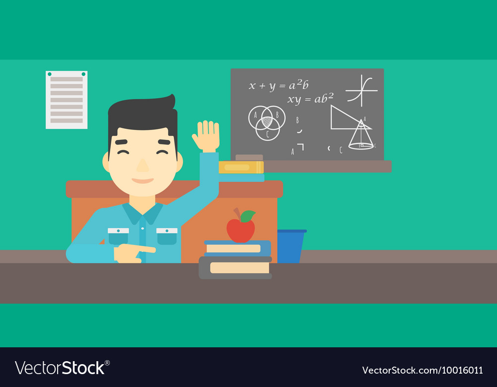 Student raising hand in class for an answer