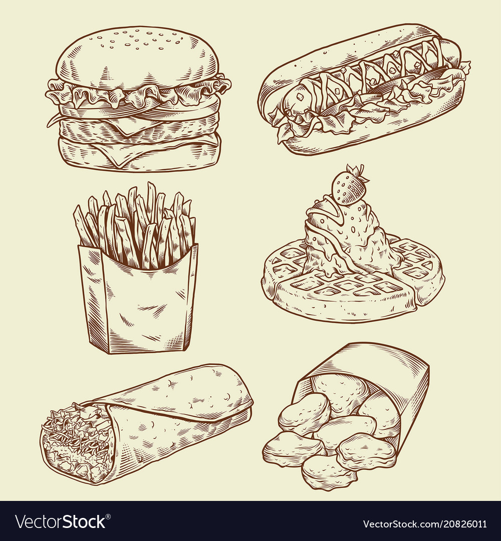 Vintage fast food hand drawing