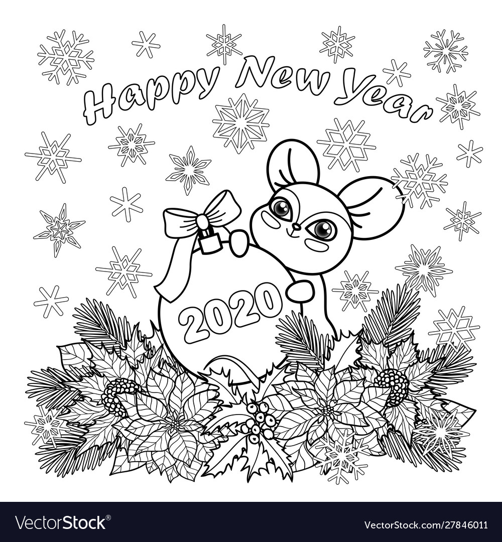 - Winter Holiday Coloring Page With Mouse Symbol Vector Image