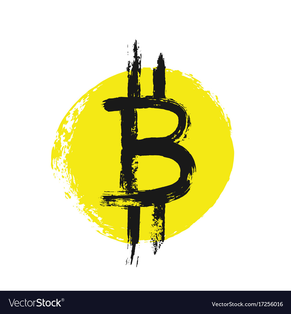 Bitcoin icon from grunge brush strokes