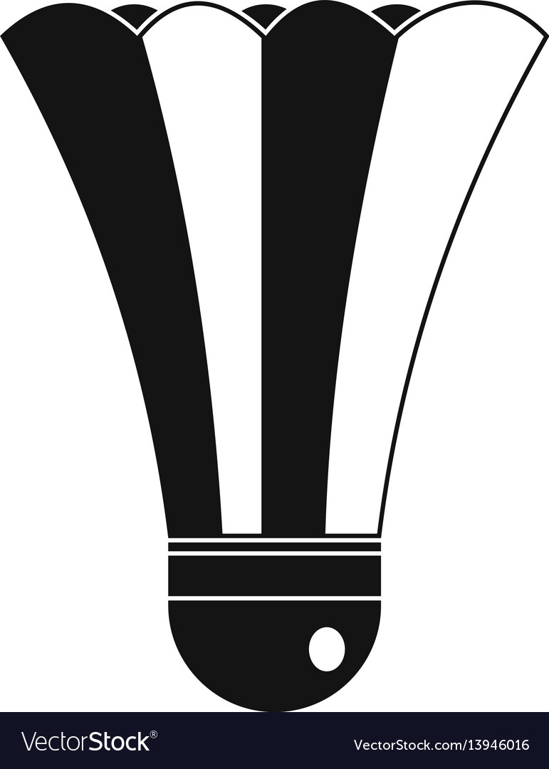 Black and white shuttlecock icon simple style