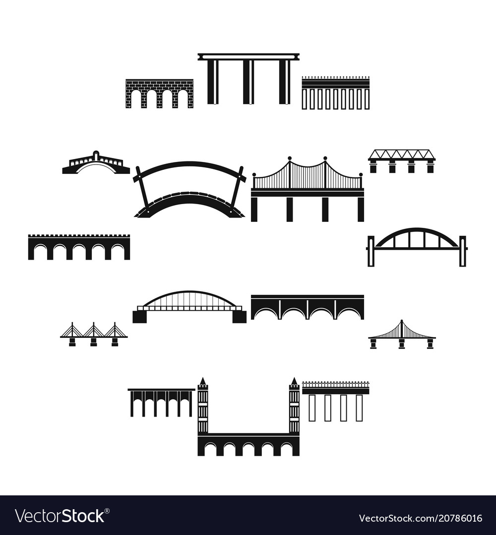 Bridge set icons simple style