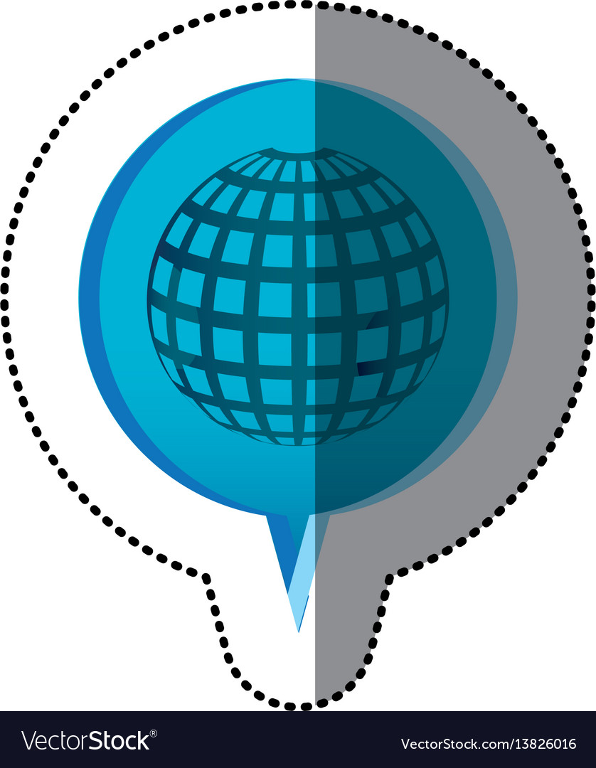 Color sticker with globe earth icon in circular vector image