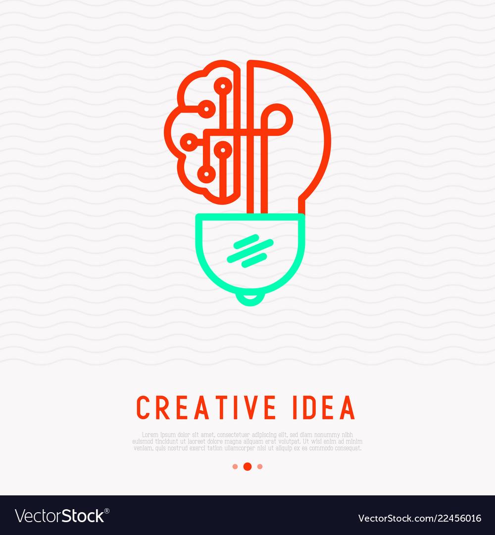 Creative idea icon lightbulb in brain shape