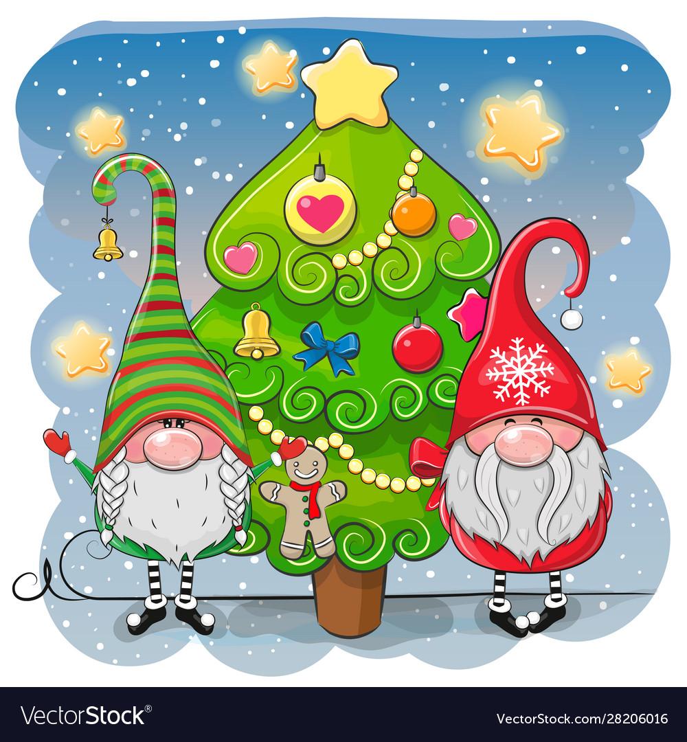 Cute cartoon gnomes and christmas tree