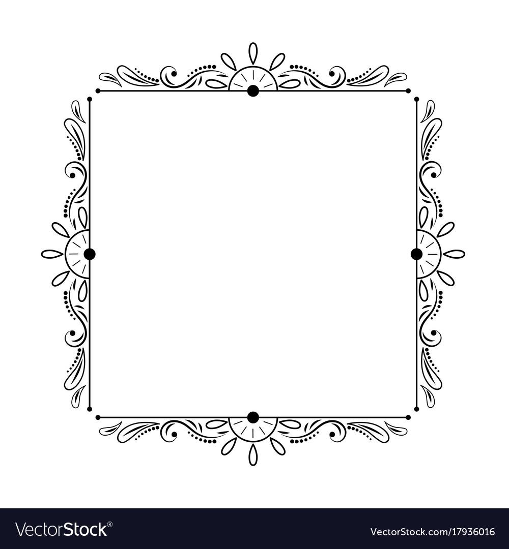 Elegant Stylish Black Vintage Square Frame Vector Image