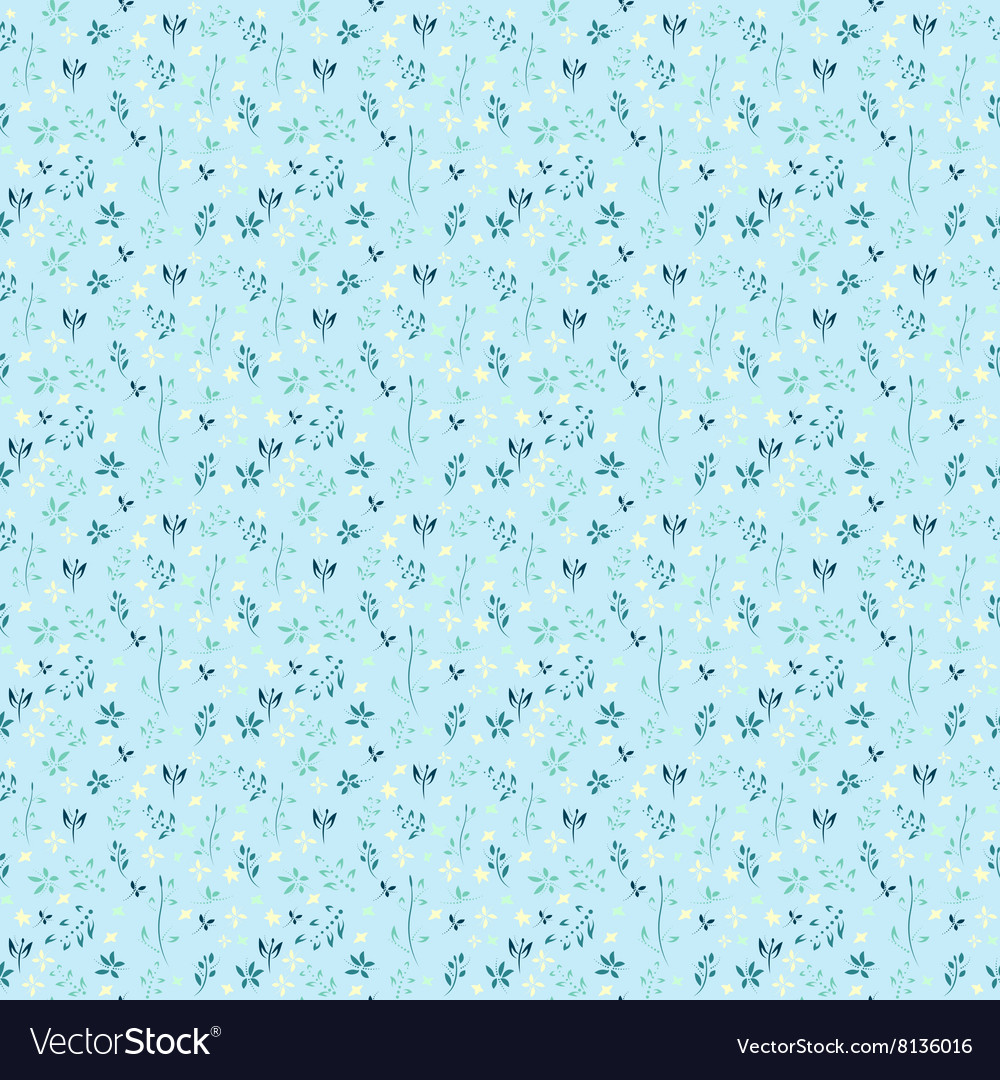 Floral pattern with flowers and leaves Gentle spri