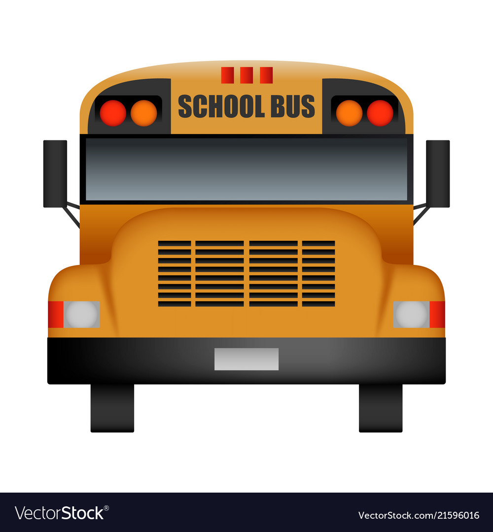 Front of old school bus mockup realistic style