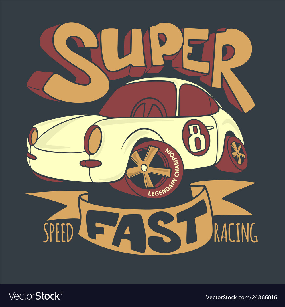 Little super car t-shirt design and other uses