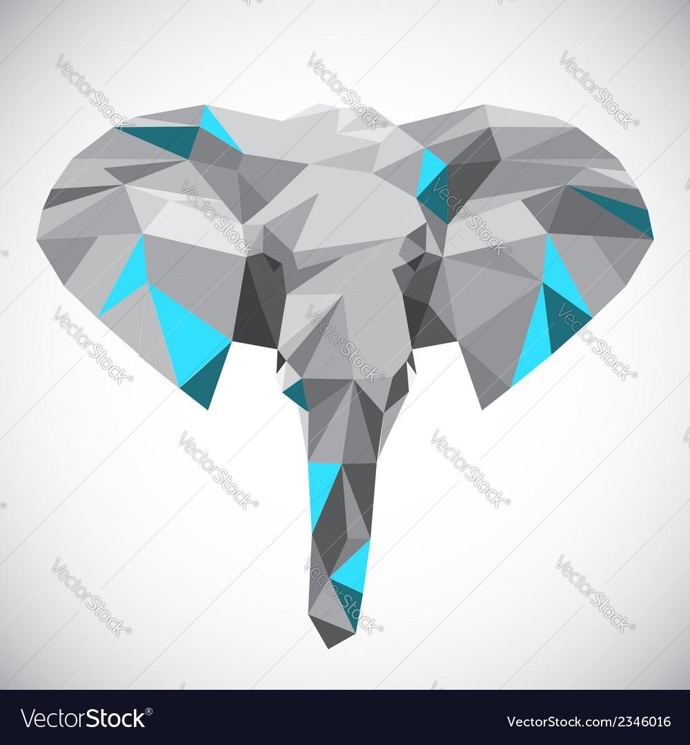 Low polygonal elephant head in popular style vector image